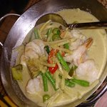 Very delicious green curry King Prawns!