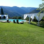 Inifinity pool, white gazebos are for wedding