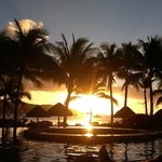 Sunset by the pool at Four Seasons in Bora Bora