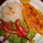 corvina al la plancha with butter/garlic, white rice and salad
