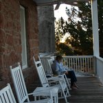 On the upstairs porch