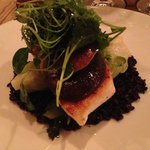 Halibut over black rice