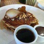 buckwheat pancakes with grilled pear, chocolate fudge, hazelnuts & whiskey maple syrup