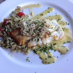 Pan Seared yellow grouper with lump crabmeat! So unbelievably good!