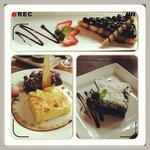Desserts and main dish.