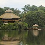 View of the lodge from canoes