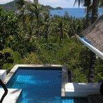 View over pool from bedroom door