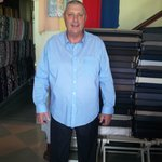 australian customer try on his pant and casual long sleeve shirt