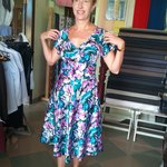 russian customer try on her dress