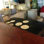 Fresh hot homemade corn tortillas