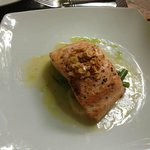 Salmon with Almonds, served with potatoes and green beans