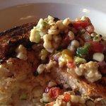 Blackened Swordfish with Avocado Salsa on creamy Polenta