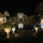 Swimming pool and fountains by night