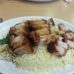 Crispy pork belly with egg fried rice