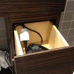 hair dryer wired thru the basin drawer