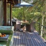 Lounge and breakfast deck of Master Suite, villa Pelangi