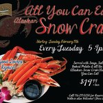 All you can eat Alaskan Snow Crab every Tuesday 5-9pm!