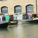 a few of the canal boats outside