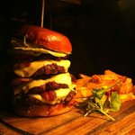 The 'Hummer Burger' doubled up! 3 patties with bacon and cheese!