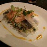 Sea bass, salmon, and prawn risotto