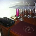 The glasses at the hotel room.
