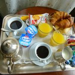 Marvelous breakfast delivered to room at Hotel Galleria