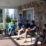 On the front porch of the motel with members of our military platoon
