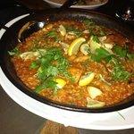 Paella Valenciana with chicken and chorizo