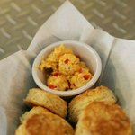 Our signature parmesan pepper biscuits with the butter of the moment...