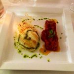 loup, risotto au chorizo et compotee de tomate fraîche