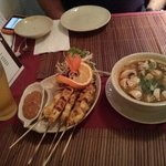 chicken satay and Tom Yum Gai