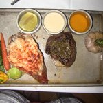 Filet mignon and lobster tail.