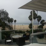 View of beach and ocean from the pool area.