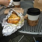 Breakfast biscuit and coffee