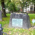 Samuel Adams' grave with the Boston Massacre Victims' stone to the left