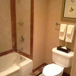 Bathroom with marble and modern amenities.