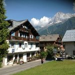 Hotel Slalom in Les Houches with view to Mont Blanc Massiv