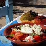 stuffed tomatoes and greek salad