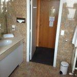 Bathroom facing the room door