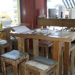 Antique tables and stools