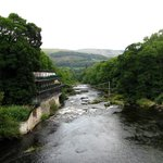 Chainbridge and hotel from the bridge