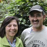 Rodrigo and Rebeca in their demonstration shade grown coffee plantation