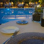 Dining at the pool.