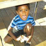Jayden under the table
