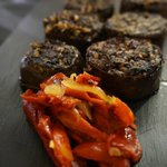 Black pudding and roasted peppers
