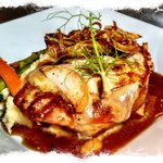 Pan Seared Pork Chop with Apple and Brie Fondue
