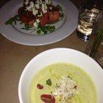 watermelon tomato feta salad & chilled zucchini soup w crab meat