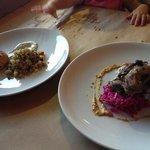 crab cake w quinoa & qual w potato salad
