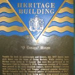 Heritage Building plaque placed on the hotel