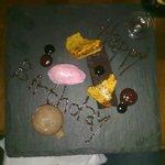 A special Birthday Dessert - Beetroot and chocolate cake, balsamic gel, cinder toffee dark choco
